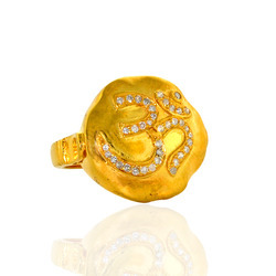 Om Diamond Gold Rings