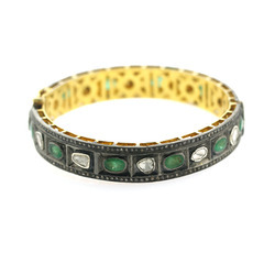 Pave Rose Cut Diamond Gold Gemstone Emerald Bangle Jewelry