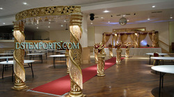 Wedding Golden Fiber Crystal Mandap Set