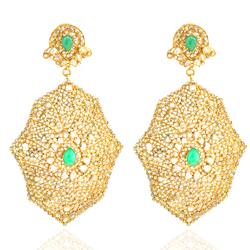 Indian Diamond Earrings With Emerald