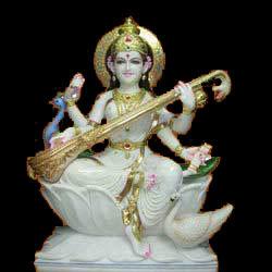 Saraswati Devi Marble Statue