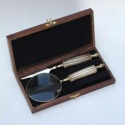Letter Reading Kit Magnifyer Opener Wooden Box