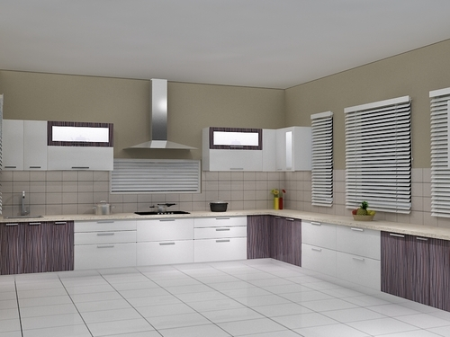 Modular Kitchens 2 Tone High Gloss Kitchens Manufacturer