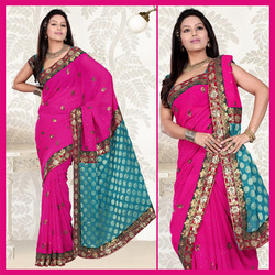 Deep Pink Faux Georgette Saree With Blouse (124)