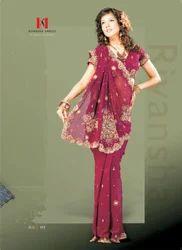 Fancy Beads Work Georgette Sari
