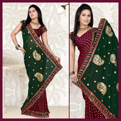 Maroon Viscose Saree With Blouse (128)