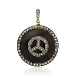 Pave Diamond Peace Charm Pendant
