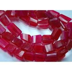 Rubellite Color Hot Pink Chalcedony Faceted Step Cut