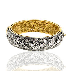 Wedding Gold Pave Rose Cut Diamond Bangle Jewelry