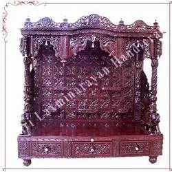 Carved Savan Wood Customize Mandir