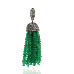 Designer Emerald Diamond Tassel Pendants