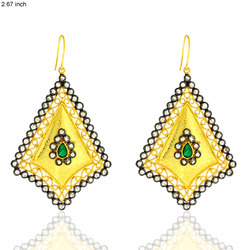 Pave Diamond Dangle Gemstone Earring