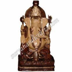Wooden Antique Carving Ganesh Ji