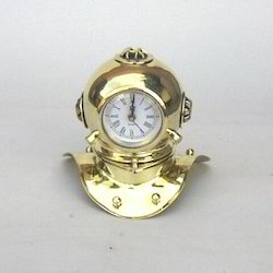 Brass Divers Diving Helmet With Clock