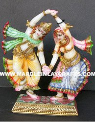 Marble Radha Krishn Statues Dancing