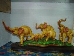Resin Elephant Family