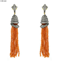 Red Aventurine Tassel Earrings