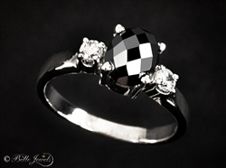 Designer Black Diamond Oval Checker Cut Solitaire Ring