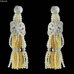 Designer Diamond Gold Tassel Earrings