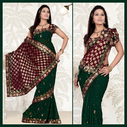 Deep Green Faux Georgette Saree With Blouse (112)