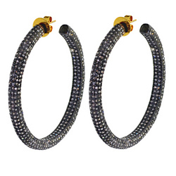 High end diamond Hoop Earrings