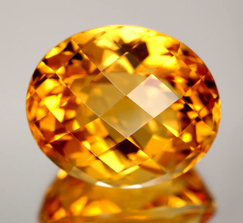Citrine Oval Checker CutStone
