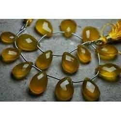 Yellow Chalcedony Faceted Pear Shaped Briolettes
