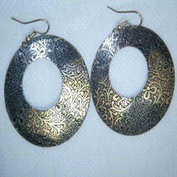 Brass Embossed Earrings