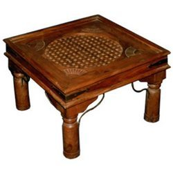 Carved Coffee Table with Center Wooden Mesh Worked