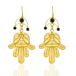 18K Hamsa Gold Earrings Jewelry