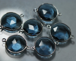 London Color Quartz Faceted Coins Silver Briolettes