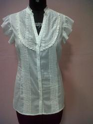 Laced Top With Pleats