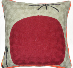 Crewel ChainStitch Pillow Giant Cherry Red on CreamCotton