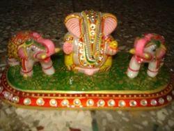 Marble Ganesha Elephant Set