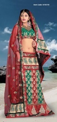 Gorgeous Bottle Green & Brick Red Lehenga Choli