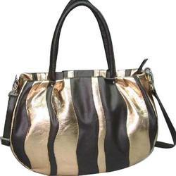 Golden & Black Leather Glossy Finish Handbag