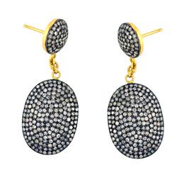 14k Gold Pave Set Diamond Drop Earrings Jewelry