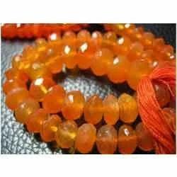 Orange Carnelian Faceted Rondelles