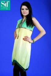 Georgette Shifli Kurti With Lace Work
