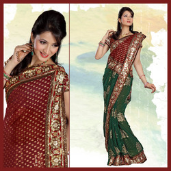Maroon And Green Faux Georgette Saree With Blouse (151)