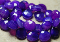 Purple Color Chalcedony Faceted Heart Briolettes