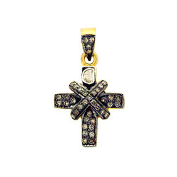 Pave Diamond Cross Charm Pendant