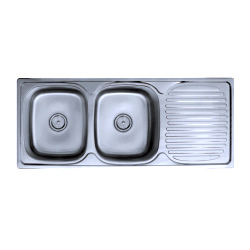 Double Bowl Kitchen Sinks With Drain Board