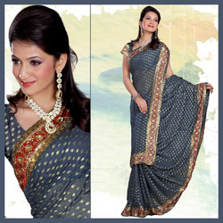 Exotic Greyish Blue Viscose Saree With Blouse (172)