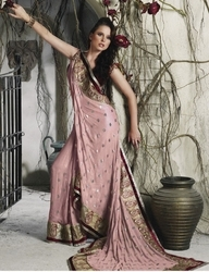 sareegalaxy - Rosy Pink Faux Georgette Saree with Blouse