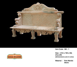 Pink Marble Stone Bench