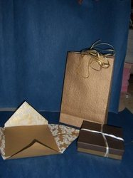 Handmade Paper Wedding Invite With Matching Bag And Boxes