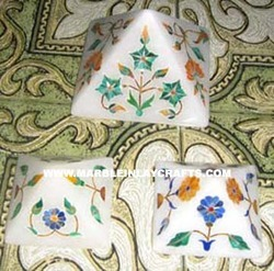 marble pyramids paper weight