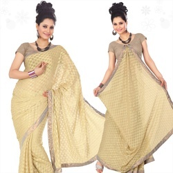 Beige Viscose Saree With Blouse