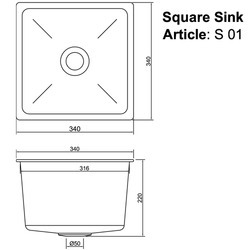 Square Sink With Outlet Nipple Sketch